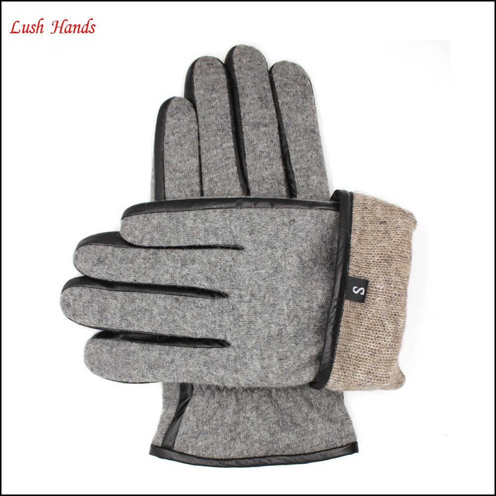 mens and boys grey woolen gloves lining 70% wool 70% acrylic or polyester