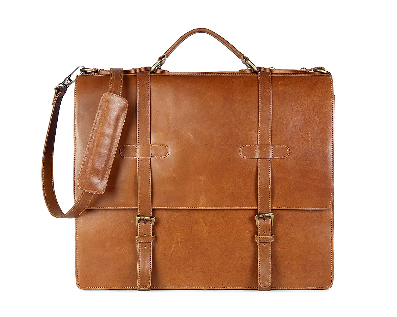 5cc895833ce097 Get Quotations · Chra Brown Retro Buffalo Hunter Leather Messenger Bag