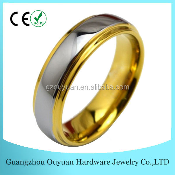 Gold Step Edge Tungsten Ring with Silver Polished Centre