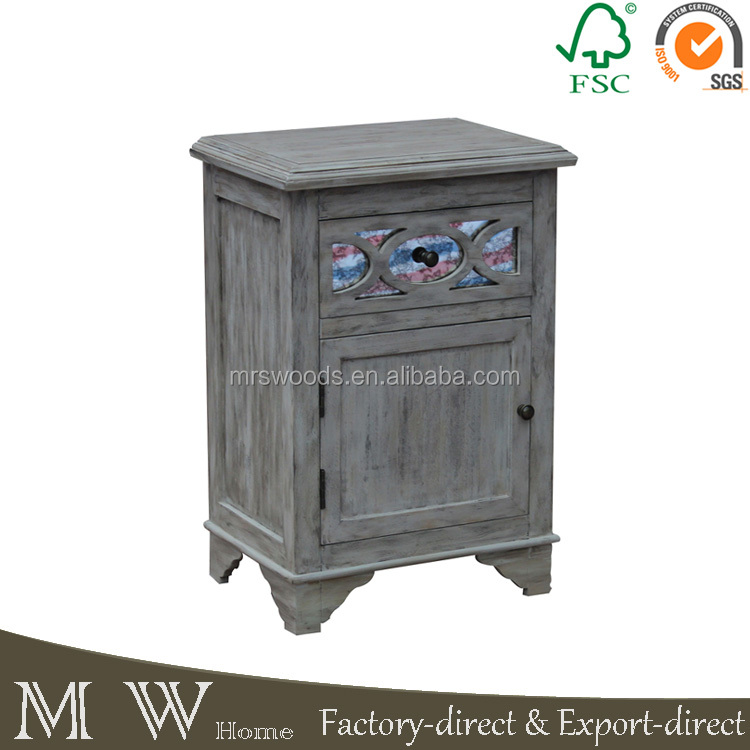 MW-A16026 french vintage fir natural 1 door 1 drawer 47x33x68cm wood nightstand, mirrored nightstand