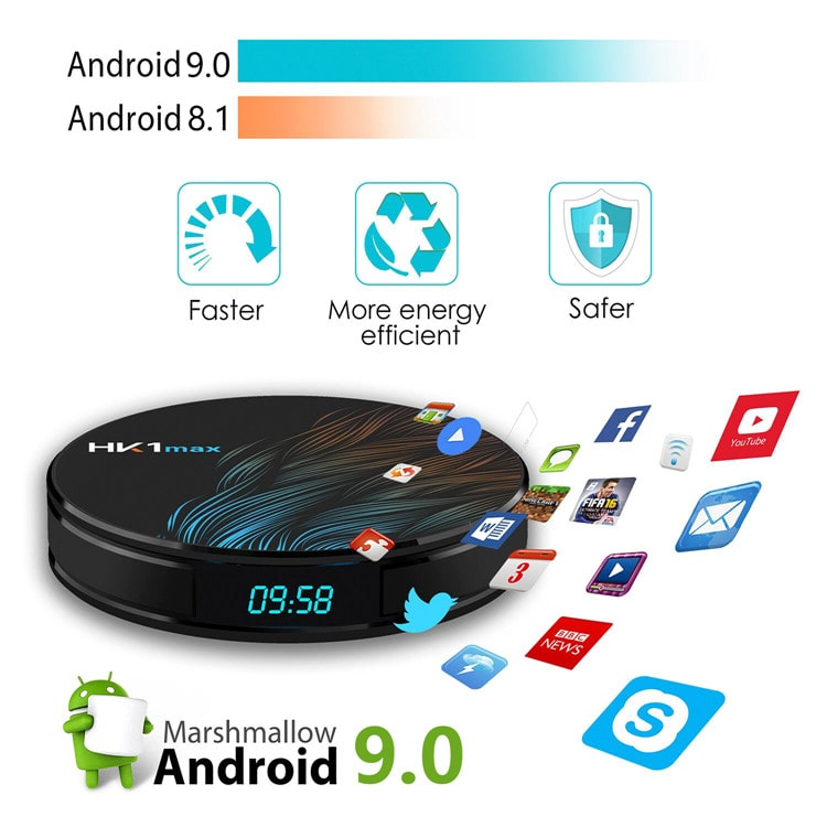 Attractive design HK1 MAX RK3328 2.4G/5GHz dual-band wifi BT4.0 android 9.0 tv box 4gb 64gb