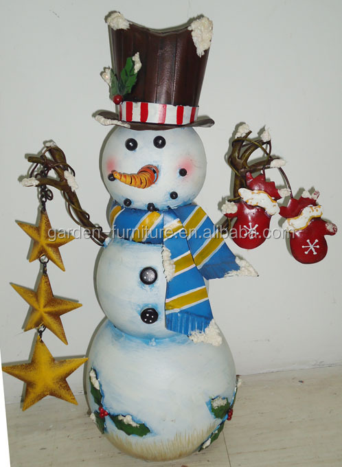 holiday decor wrougth iron crafts tabletop metal christmas snowman outdoor decorations
