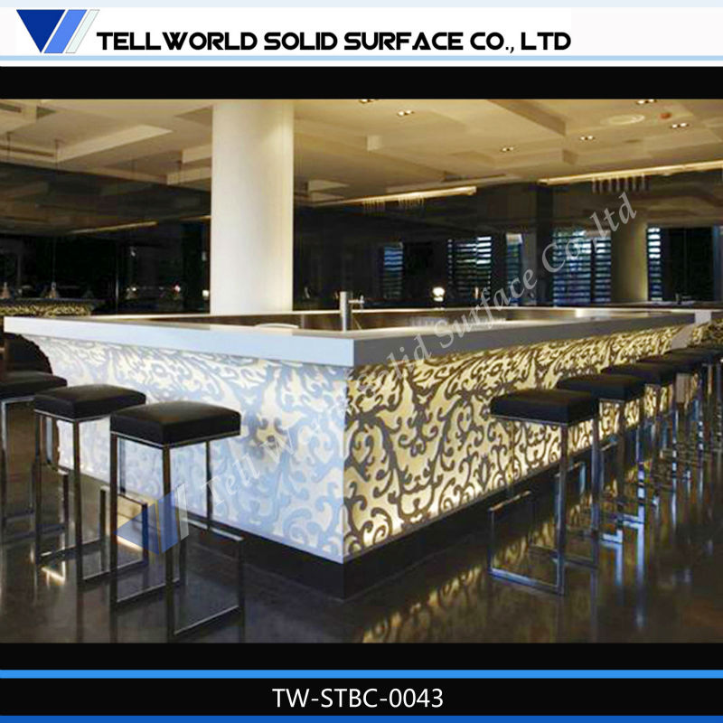 Superb TW Modern Beauty Luxury Solid Surface LED Wine Bar Counter Design For Sale