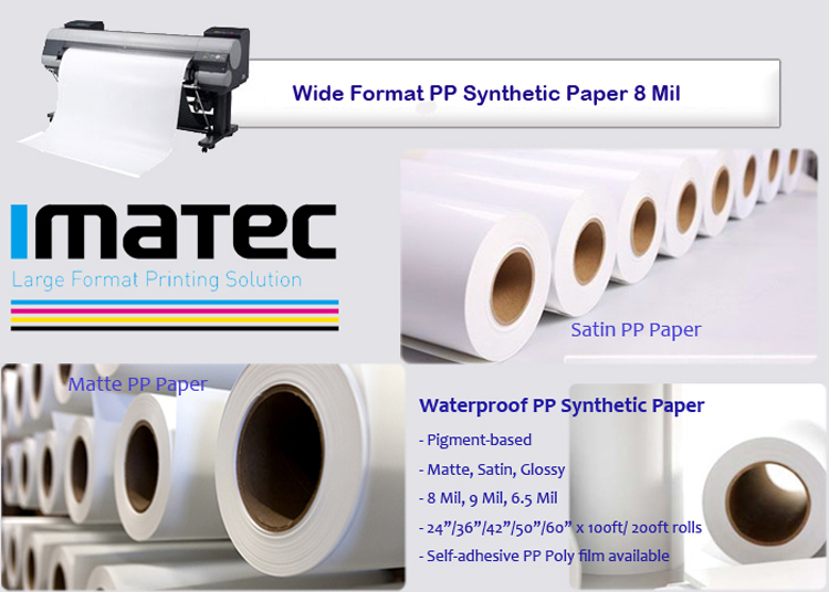 Water-based Inkjet Adhesive PP Synthetic Paper Stickers Polypropylene for Indoor Posters