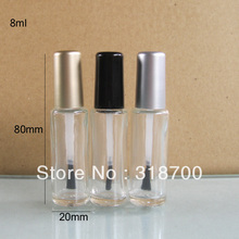 200pcs/lot 8ml Empty Nail polish Bottle Transparent nail enamel bottle with brush cap