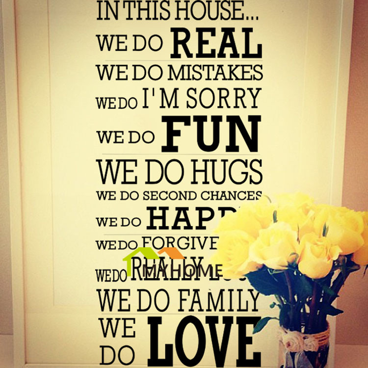Removeable Large Wall Decals Quotes House Rule We Do Real