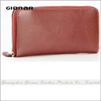 Factory On Line Wholesale Price Fashion Top Quality Genuine Leather Zipper Closure Long Wallet Women Clutch Purse