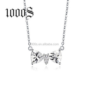 Hot Selling Fashion 925 Silver Cute Bowknot Petite Chain Pendant Necklace