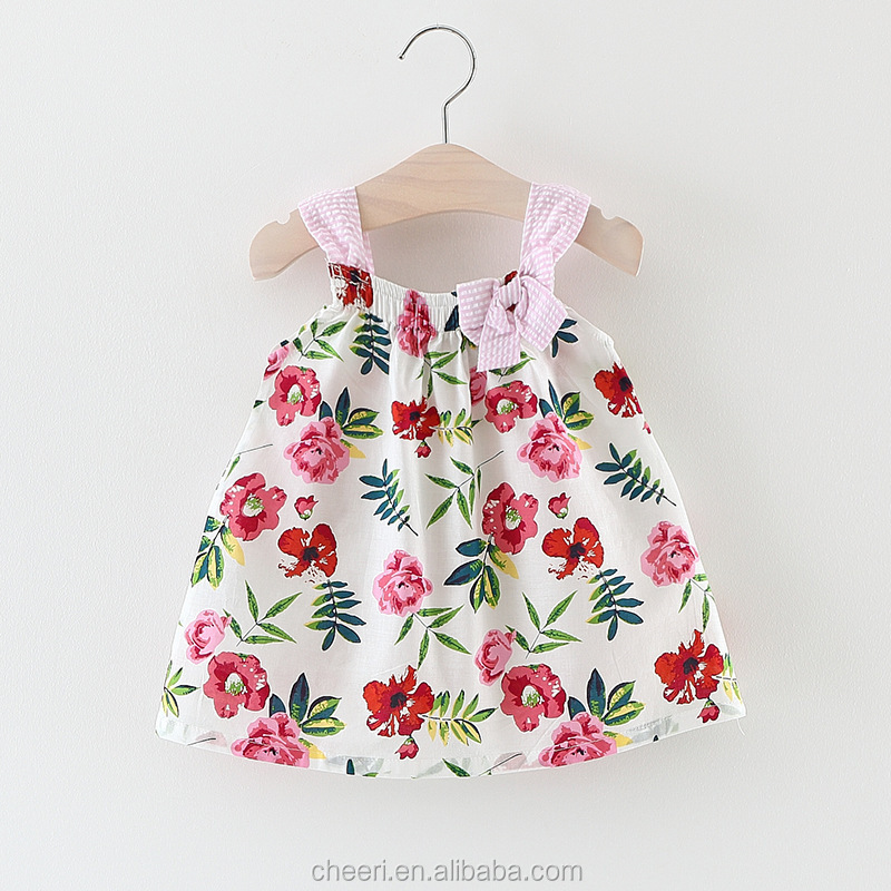 HT-BGCD Boutique Baby Flower Printing Dress Modern Girl Fancy Designs Frocks Dress Baby Clothes Wholesale Price Designer frock