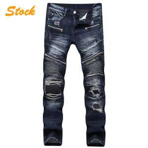 New Design Cotton Skinny Biker Damaged Jeans Pants For Men