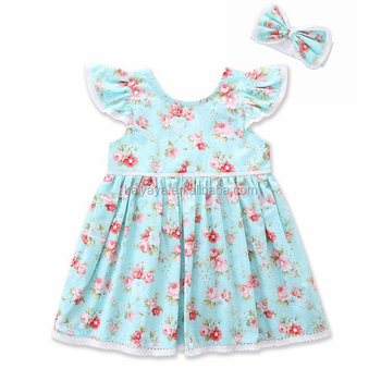 High quality cotton small flying sleeves baby girl dress pink and blue floral print dress with bows