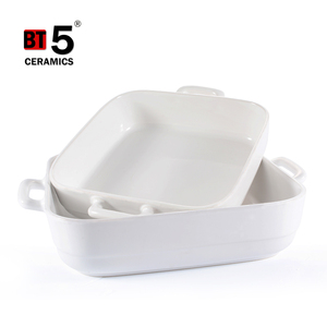 Wholesale square baking white dish with handle