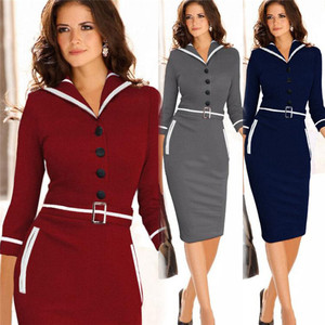Spring new temperament English wind Lapel seven point sleeve pure color spliced Pencil Dress Lady
