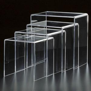 Modern Design Mirror Bent Glass Coffee Table, Lucite Nesting Table, Perspex Side Table End Table Sets