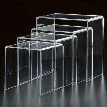 Modern Design Mirror Bent Glass Coffee Table Lucite Nesting Table