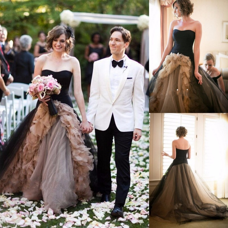 Nw1159 Ruffle Organza Black Tulle Wedding Dresses Short Front And ...