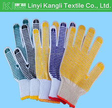 PVC dots on palm Cotton knitted working glove