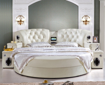 Mordern design music round bed with build in speaker for for Round bed design