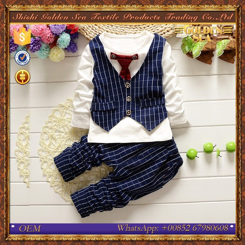 wholesale high quality three pieces trendy baby boy clothing