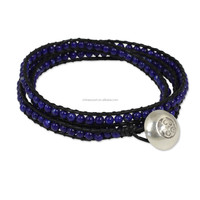Hill Tribe Silver and Leather Bracelet Crafted by Hand