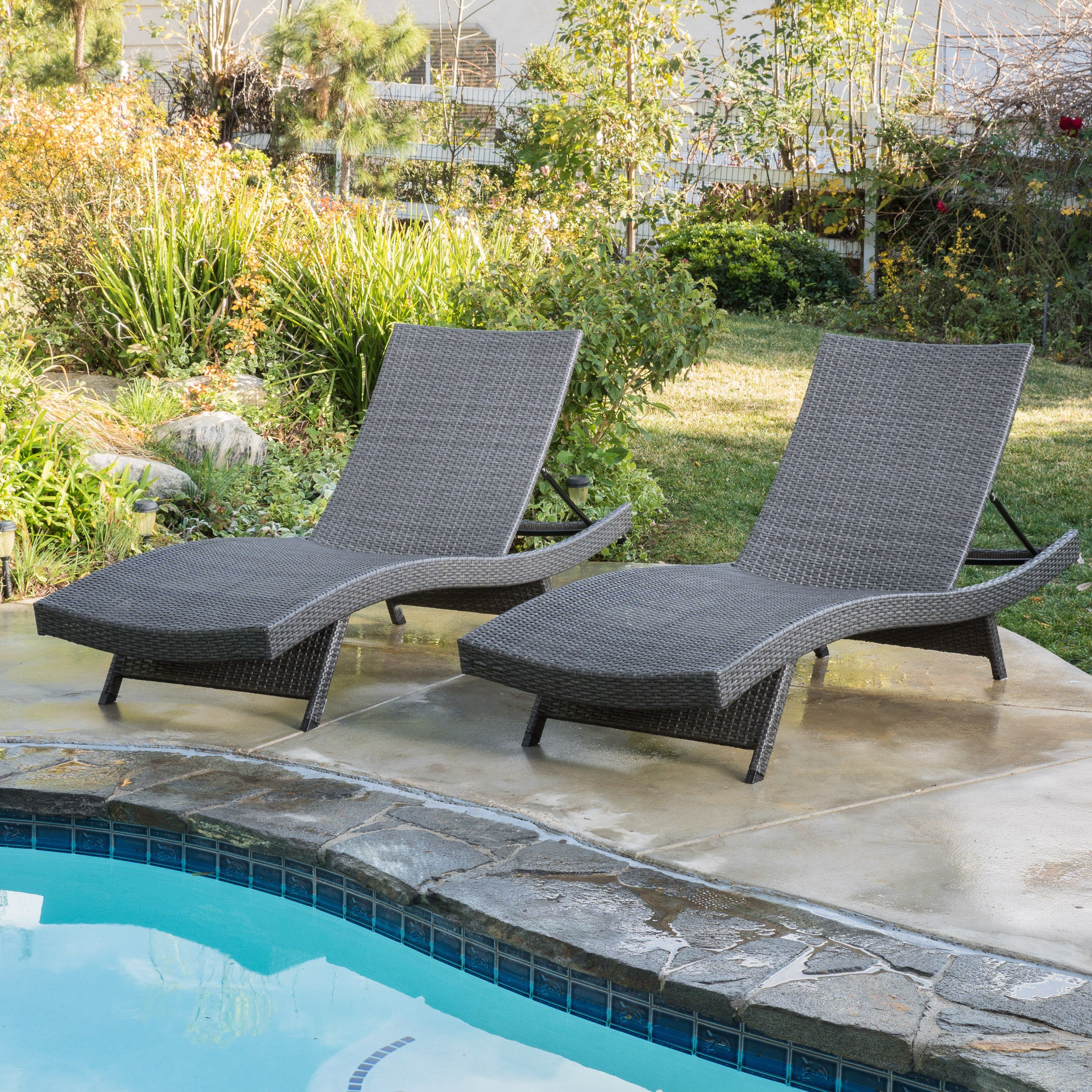 Get Quotations · (Set Of 2) Olivia Outdoor Grey Wicker Chaise Lounge Chairs