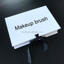 custom logo makeup brush box packaging with ribbon close