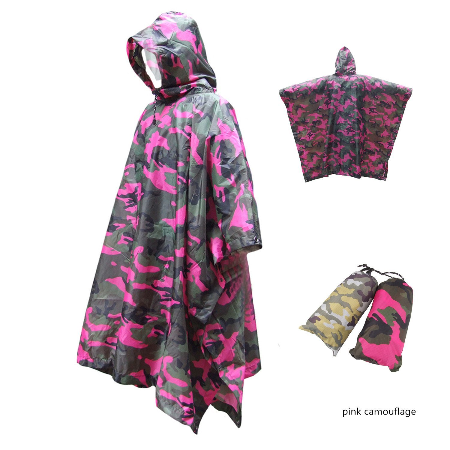 Three in one camouflage raincoat, Multifunction Military Emergency Rain Poncho, started as a tent, moistureproof pad, Unfolding L 86.6in /W 57.5in ,Camouflage, yellow camouflage, pink camouflage