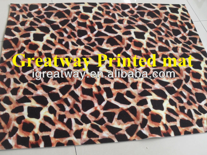 Needle punched printed non woven animal print carpet