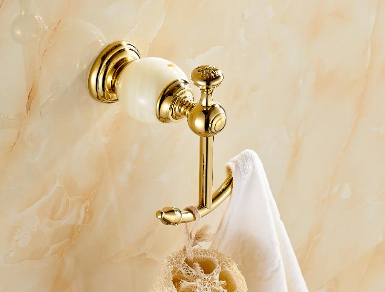 Wall Hanging Solid Brass Doubel Robe Hook with gold colour