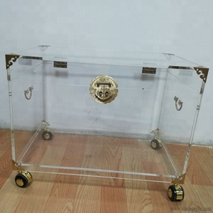 Factory Wholesale Clear Acrylic Trunk Rustic Brass with Wheels, Big Storage Container for Home