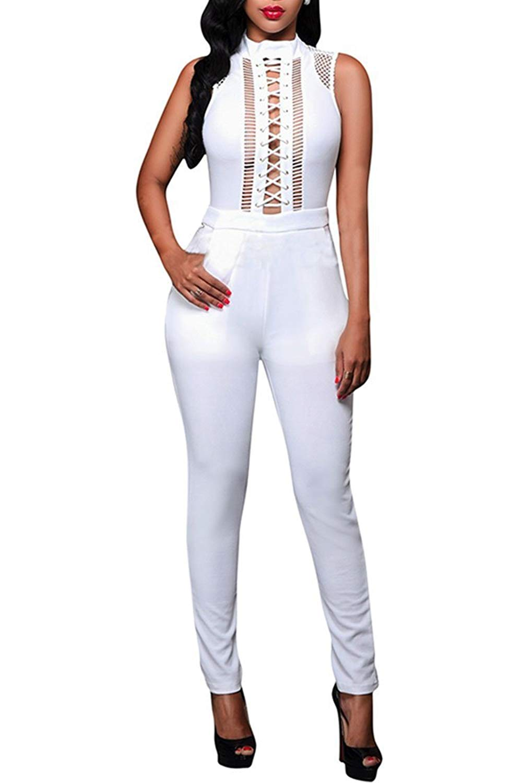 ec16d8e823d87 Get Quotations · Womens Long Sleeve Sheer Rhinestone Bodycon Clubwear  Jumpsuit Romper
