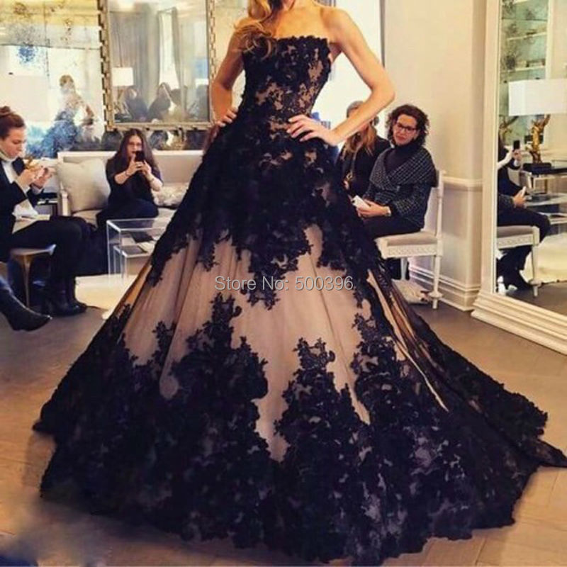 Gothic Black Lace Wedding Dress Long Ball Gown Bridal Gown: Black Lace Appliques Strapless Evening Dress 2016 A Line