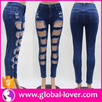 f9bf3471c Oem Atacado Barato Mulher Moda Jeans Fábrica Jeans Rasgados Mulheres ...