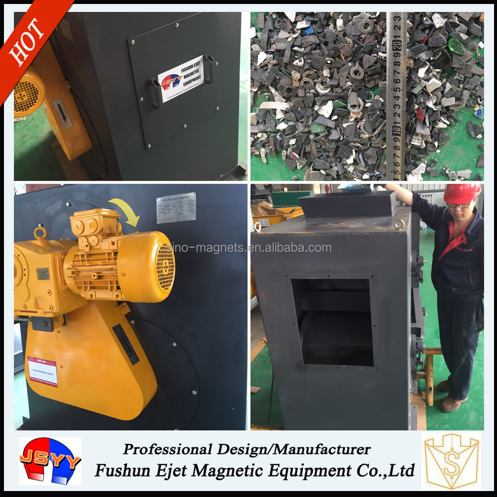 high tension rotating Tire Recycling Magnetic rollers for tramp Fe