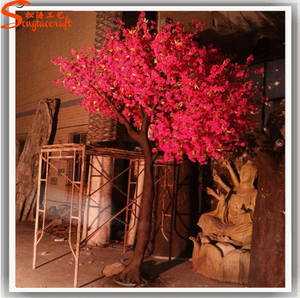 Large outdoor factory artificial wooden decorative trees dark pink artificial blossom tree for wedding