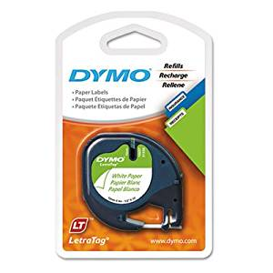 """Dymo 10697 Self-Adhesive White Paper Labeling Tape for LetraTag (LT) Label Makers; 15 Blister Packs (30 Refills); Each Blister Pack with Hang Hole contains Two 1/2"""" Wide x 13ft Long (12mm x 4m) Refill Rolls; Black Print on White paper tape"""