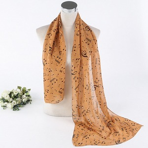 Cheap prices printed polyester chiffon ladies happy music notes pattern 100% polyester scarf