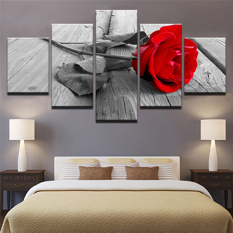 5 Panel framed Wall Art Flower Picture Rose Painting Canvas Prints Home Decoration Living Room Bedroom Wall Picture