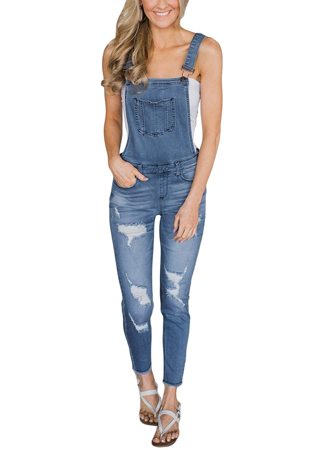 9db68a5e5dcd Get Quotations · GOSOPIN Women Juniors Fitted Distressed Denim Jeans  Stretch Overalls Jumpsuits
