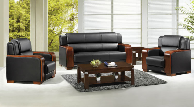 Wood Armrest Office Leather Sofa Set, Wood Armrest Office Leather