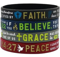 "Personalized ""Faith, Believe, Peace, Grace"" Silicone Bible Bracelets - Deboss Christian Religious Rubber wristband Jewelry Gifts"