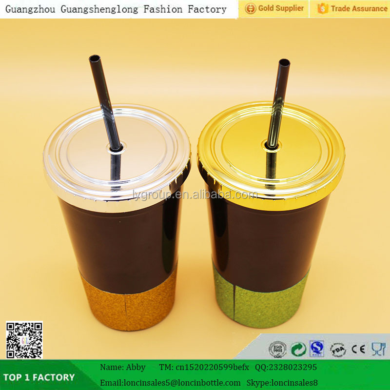 BPA-FREE PP straw coffee tumbler with lid, plastic water bottle with lid and straw