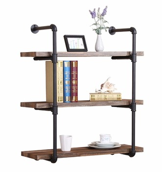 3 tier industrial vintage pipe bookshelf rustic pipe for Estante de cocina industrial