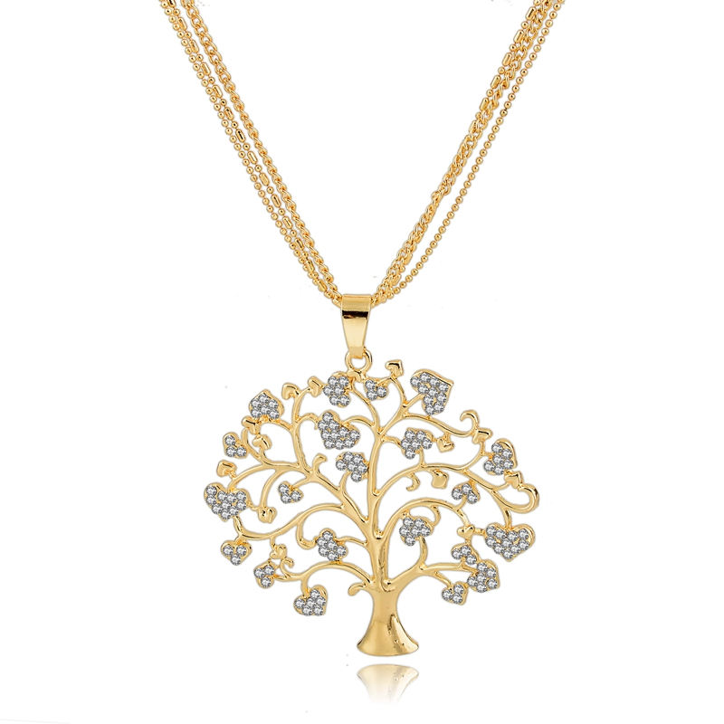 Fashion Tree life necklace in gold and <strong>silver</strong>, heart shaped crystal paved tree necklace pendant