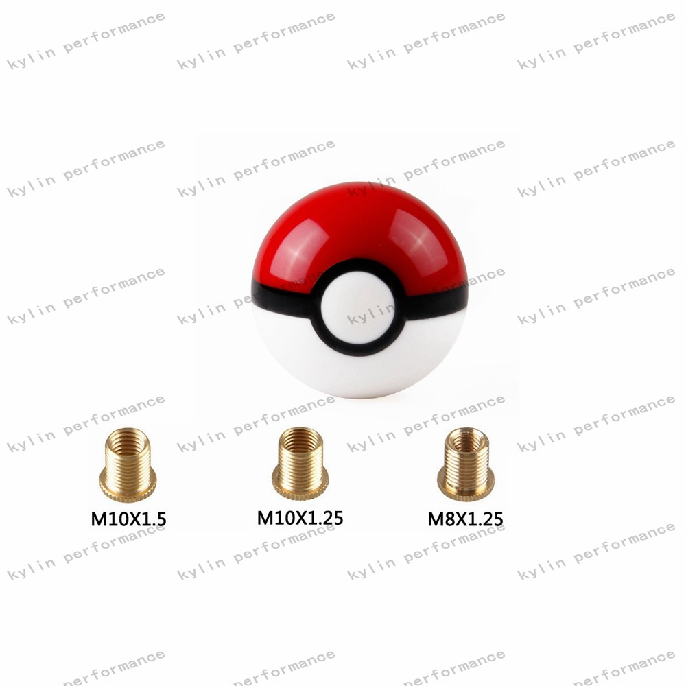 Kylin Racing Pokemon Go Pokeball Pokemon Ball Universal Gear Dildo Shift Knob With 3 Adapter