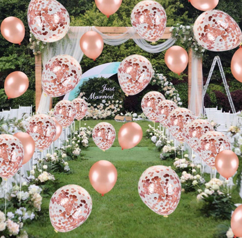 Umiss 55pcs Rose Gold Party Decorations, Perfect for Birthday, Wedding, Bridal or Baby Shower Backdrop