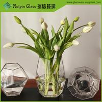 Elegant geometric floral glass vase,glass crystal flower vase