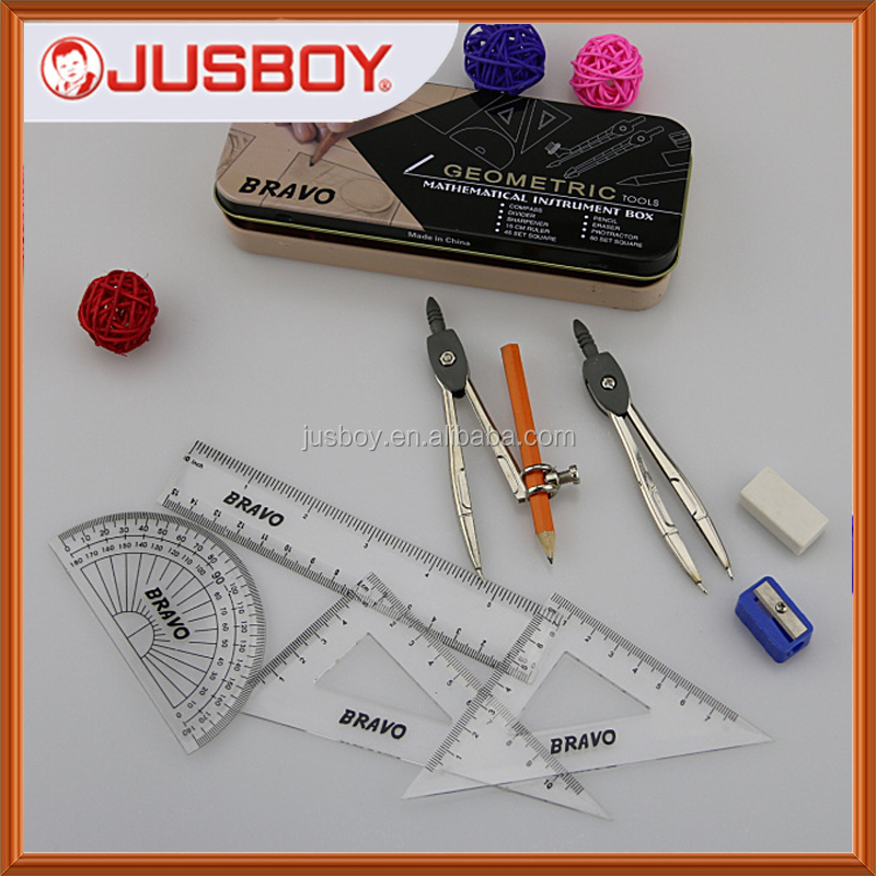 10pc Geometry Box Set Tin Precision Drawing Compass Protractor Learning School