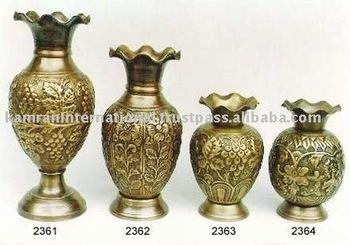Brass Engraved Flower Vases Antique Flower Vase Metal Flower Vase Silver Metal Flower Vase Hand