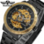 China Supplier ,Cheap Price, Automatic Black And Gold Skeleton Stainless Steel Men Watches